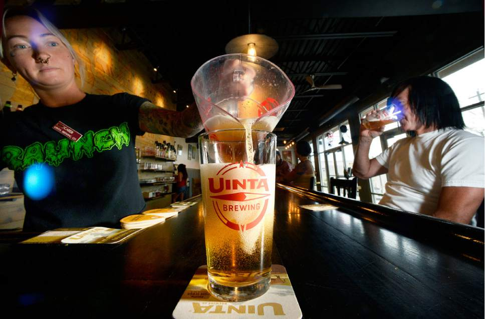 Scott Sommerdorf      The Salt Lake Tribune   Draft beer, which much be 3.2 percent alcohol by weight, is poured at Uinta Brewing's tasting area, Thursday, July 20, 2017.