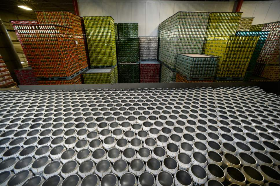 Scott Sommerdorf      The Salt Lake Tribune   Empty cans of Uinta Brewing's Lime Pilsner, one of several 3.2 beers it produces, are stacked and waiting to be used, Thursday, July 20, 2017.