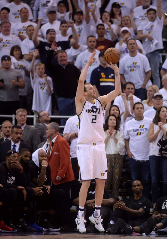 Steve Griffin  |  The Salt Lake Tribune   Utah Jazz forward Joe Ingles (2) fires and hits a three pointer late in the game during the Jazz versus Clippers NBA playoff game at Viviint Smart Home arena in Salt Lake City Sunday April 23, 2017.