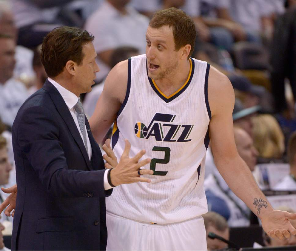 Leah Hogsten  |  The Salt Lake Tribune  Utah Jazz head coach Quin Snyder and Utah Jazz forward Joe Ingles (2). The Utah Jazz lead the Los Angeles Clippers after the third quarter during Game 3 of their first-round Western Conference playoff series at Vivint Smart Home Arena, Friday, April 21, 2017.