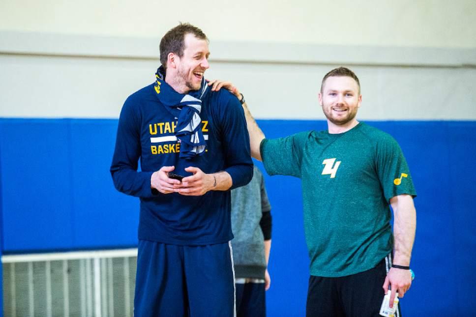 Chris Detrick  |  The Salt Lake Tribune Utah Jazz forward Joe Ingles (2) and Isaiah Wright, strength and conditioning coach, during a practice at UCLA Student Activities Center Monday, April 17, 2017.