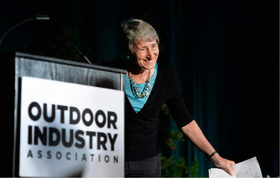 Scott Sommerdorf   |  The Salt Lake Tribune   Former Interior Secretary Sally Jewell takes a bow, responding to applause as she was introduced to speak at the Outdoor Industry Retailers breakfast, Wednesday, July 26, 2017.