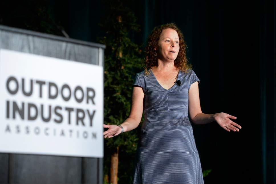 Scott Sommerdorf   |  The Salt Lake Tribune   Outdoor Industry Association Executive Director Amy Roberts speaks about the trade show's move to Colorado at the Outdoor Industry Association breakfast, Wednesday, July 26, 2017.