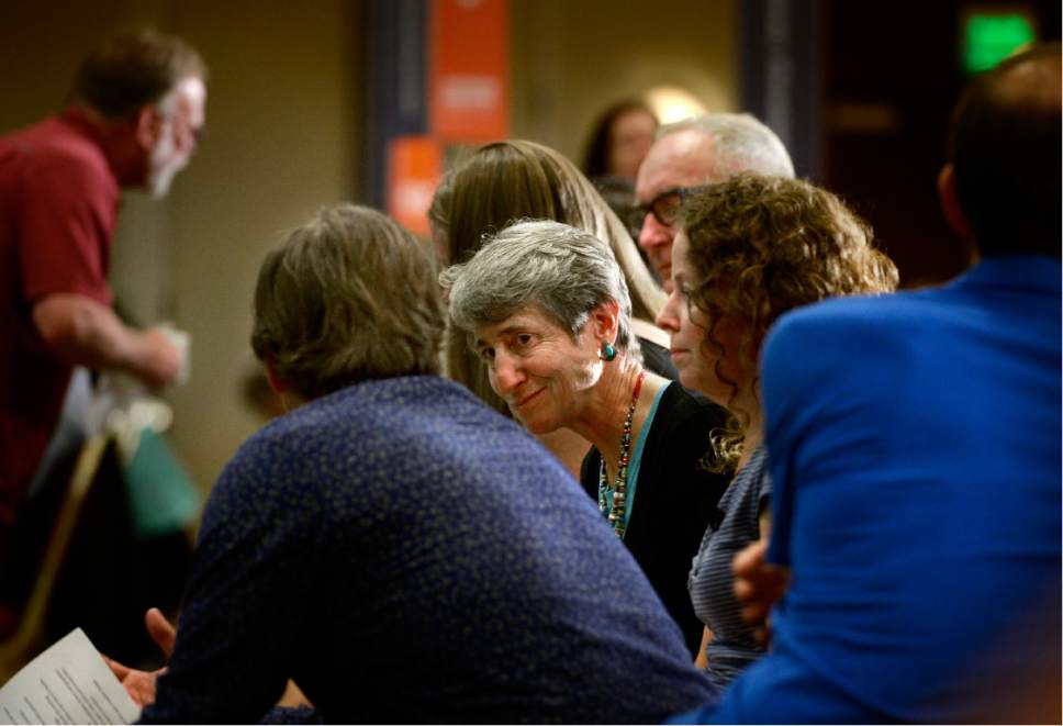 Scott Sommerdorf   |  The Salt Lake Tribune   Former Interior Secretary Sally Jewell chats with OIR leaders in the audience prior to speaking at the Outdoor Industry Retailers breakfast, Wednesday, July 26, 2017.