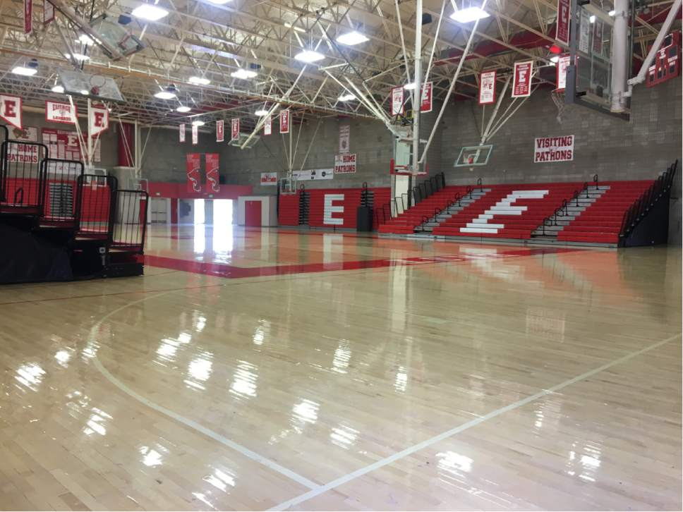 The East High gym is flooded following torrential rain in the early morning of July 26, 2017. Photo courtesy of Salt Lake City School District.