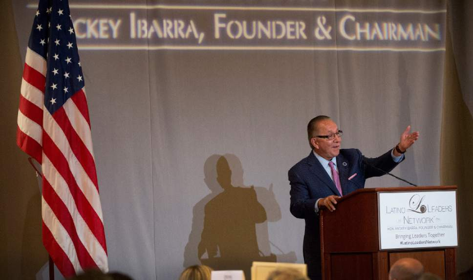 Leah Hogsten  |  The Salt Lake Tribune Mickey Ibarra, who grew up in the Utah foster care system and went on to serve in President Bill Clinton's Administration as director of Intergovernmental Affairs, delivers the keynote address to the Latino Leaders Network conference,Thursday, July 27, 2017.