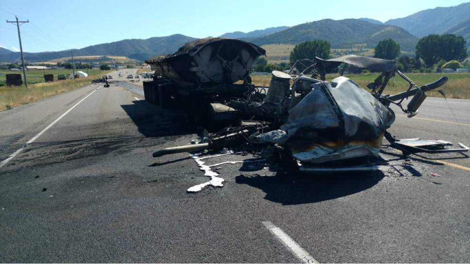 |  Courtesy Utah Highway Patrol  A pick up truck that that was fleeing from a Highway Patrol trooper on SR 89-91 crossed the median and collided head on with a semi truck. The driver of the pick up truck was pronounced dead at the scene. The driver of the semi truck suffered serious injuries.