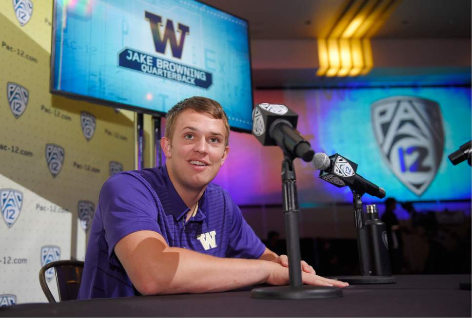 Washington's Jake Browning speaks at the Pac-12 NCAA college football media day, Wednesday, July 26, 2017, in the Hollywood section of Los Angeles. (AP Photo/Mark J. Terrill)