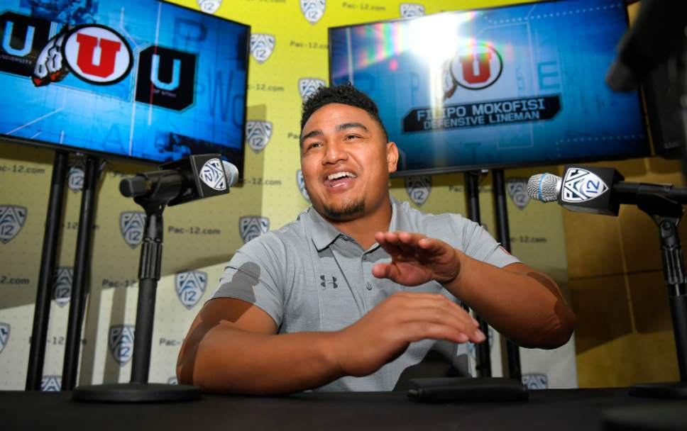 Utah defensive tackle Filipo Mokofisi speaks at the Pac-12 NCAA college football media day, Thursday, July 27, 2017, in the Hollywood section of Los Angeles. (AP Photo/Mark J. Terrill)