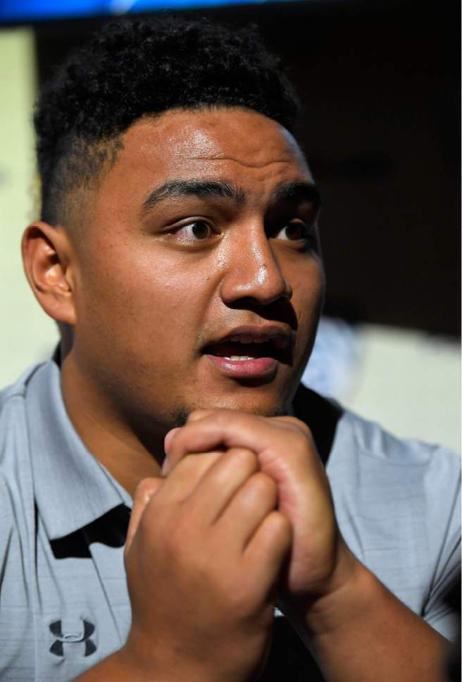 Utah defensive tackle Filipo Mokofisi speaks at Pac-12 NCAA college football Media Day, Thursday, July 27, 2017, in the Hollywood section of Los Angeles. (AP Photo/Mark J. Terrill)