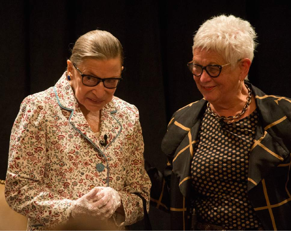 Rick Egan  |  The Salt Lake Tribune  Deanell R. Tacha, talks witht U.S. Supreme Court Justice Ruth Bader Ginsburg after moderating their conversation at the Utah State Bar, annual convention at the Sun Valley Inn, Friday, July 28, 2017.
