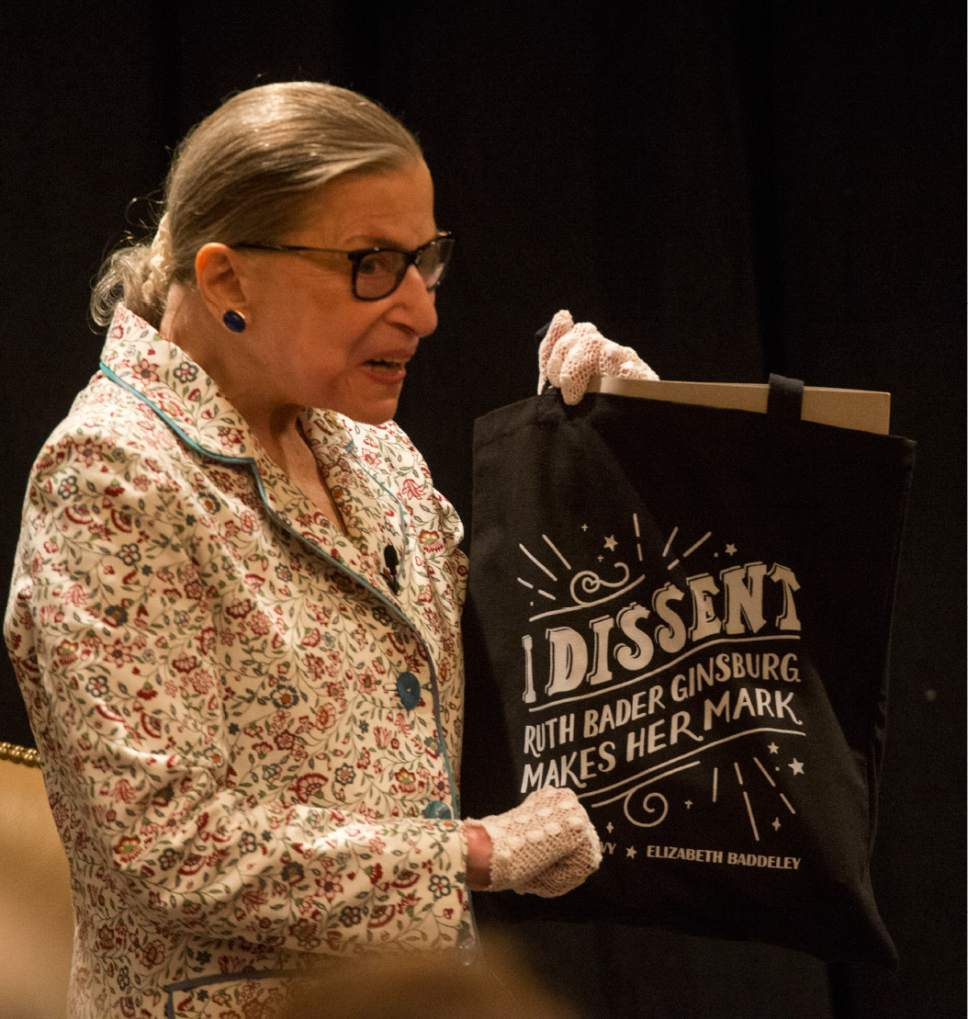 Rick Egan  |  The Salt Lake Tribune  U.S. Supreme Court Justice Ruth Bader Ginsburg talks about her tote bag, at the Utah State Bar at their annual convention at the Sun Valley Inn, Friday, July 28, 2017.