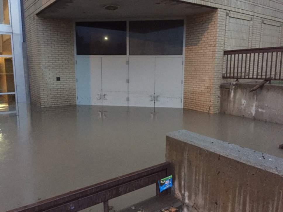 Flooding at East High following torrential rain in the early morning of July 26, 2017. Photo courtesy of Salt Lake City School District.