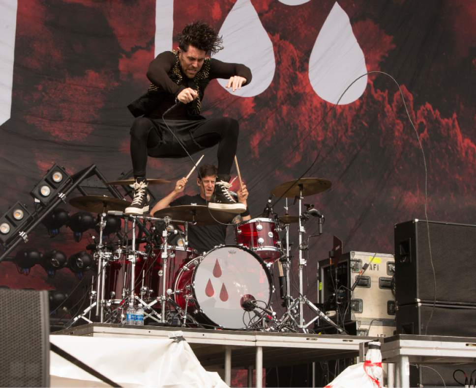 Davey Havok of the band AFI performs on Day 2 of the 2017 Firefly Music Festival at The Woodlands on Friday, June 16, 2017, in Dover, Del. (Photo by Owen Sweeney/Invision/AP)