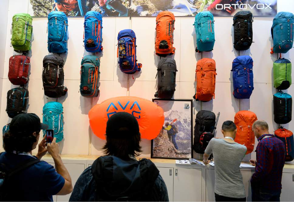 Francisco Kjolseth     The Salt Lake Tribune Trade show participants overlook the Ortovox booth as the Outdoor recreation industry stages their last trade show in Utah on Wed. July 26, 2017, before moving to Denver, Colorado after two decades in Salt Lake City.