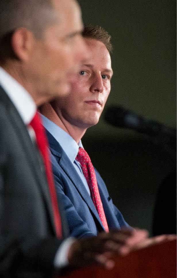Leah Hogsten  |  The Salt Lake Tribune Third District primary candidate businessman Tanner Ainge listens as Provo Mayor John Curtis fields a question during The Salt Lake Tribune-Hinckley Institute of Politics debate, June 28, 2017 at the  Utah Valley Convention Center in Provo. The primary will be held Aug. 15.
