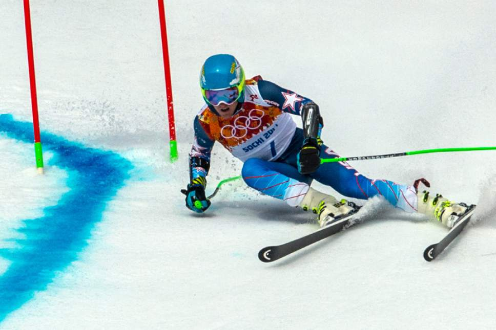 KRASNAYA POLYANA, RUSSIA  - JANUARY 19: Ted Ligety, of Park City, competes in the Men's Giant Slalom at Rosa Khutor Alpine Center during the 2014 Sochi Olympics Wednesday February 19, 2014. LIgety won the gold medal with a cumulative time of 2:45.29. (Photo by Chris Detrick/The Salt Lake Tribune)