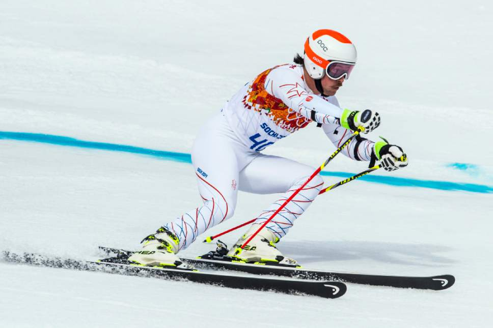 KRASNAYA POLYANA, RUSSIA  - JANUARY 19: Jared Goldberg competes in the Men's Giant Slalom at Rosa Khutor Alpine Center during the 2014 Sochi Olympics Wednesday February 19, 2014. Goldberg finished in 19th place with a time of 2:47.48. (Photo by Chris Detrick/The Salt Lake Tribune)