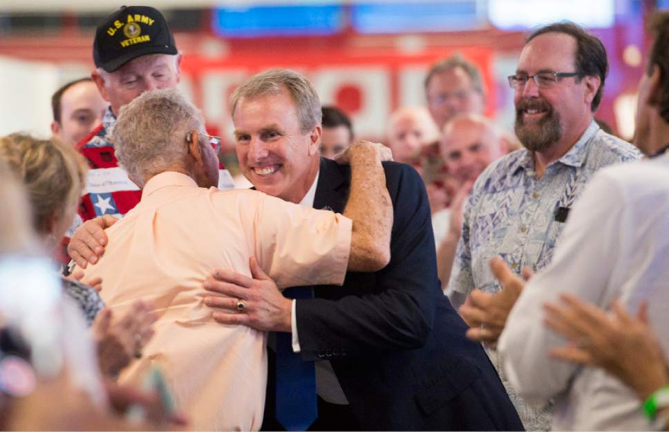 Leah Hogsten     The Salt Lake Tribune Utah's 3rd District primary candidate, former state Rep. Chris Herrod greets attendees at his election rally after a stump speech from Republican Sen. Ted Cruz of Texas, June 29, 2017 at Entrata in Lehi.