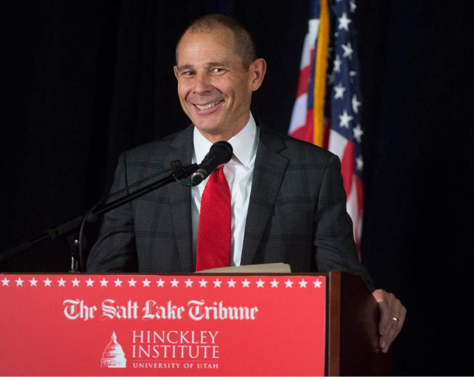 Leah Hogsten     The Salt Lake Tribune Third District primary candidate Provo Mayor John Curtis fields questions during The Salt Lake Tribune-Hinckley Institute of Politics debate, June 28, 2017 at the  Utah Valley Convention Center in Provo. The primary will be held Aug. 15.