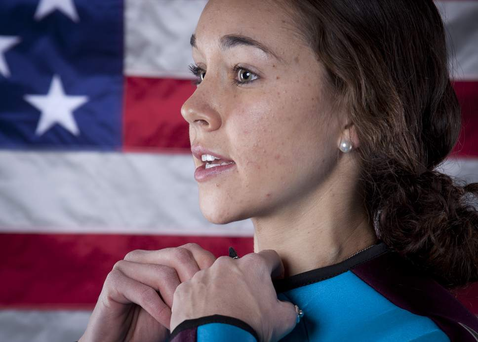 United States Olympic Winter Games ski Jumper Sarah Hendrickson poses for a portrait at the 2013 Team USA Media Summit on Monday, October 1, 2013 in Park City, UT. (AP Photo/Carlo Allegri)