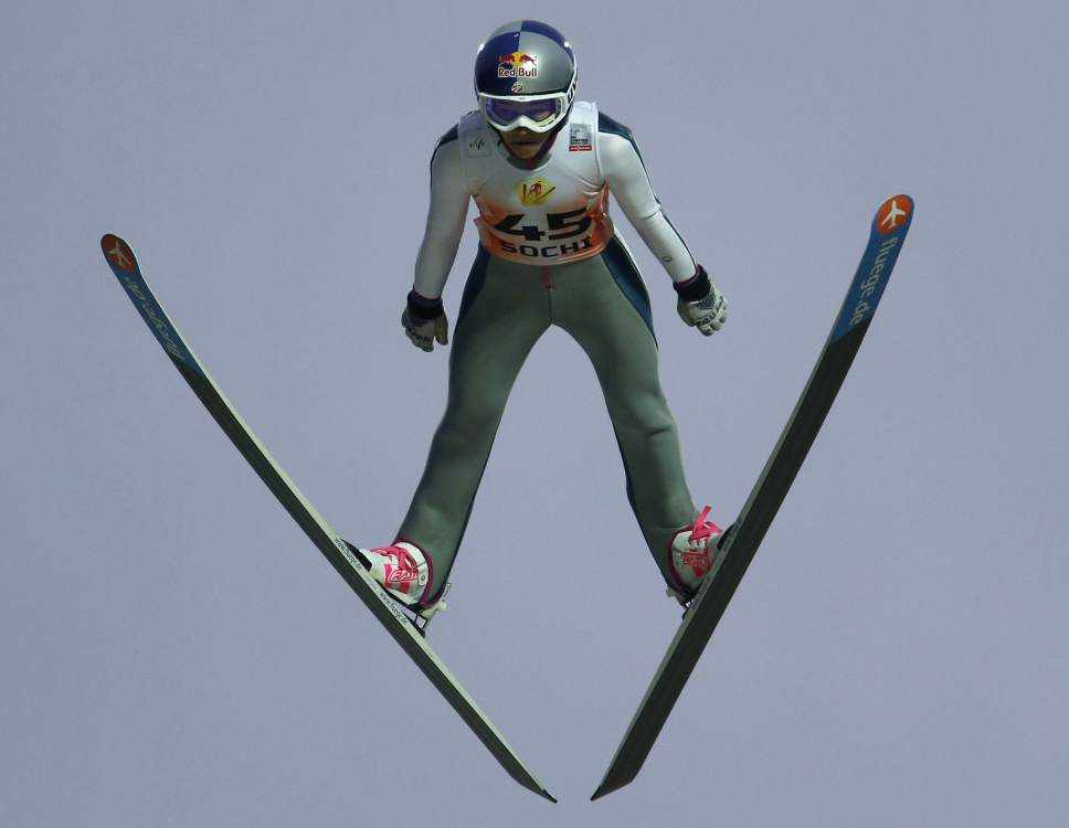Sarah Hendrickson of the US, makes her competition jump, during the Women's Normal Hill Individual event at the FIS Ski jumping Cup in Sochi, Russia, Saturday, Dec. 8, 2012. (AP Photo/Dmitry Lovetsky)