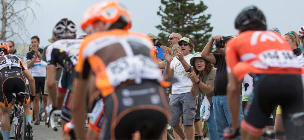 Leah Hogsten  |  The Salt Lake Tribune Fans and enthusiasts cheer on the peloton as it climbs Guardsman's Pass during Stage 6 of the Tour of Utah on Saturday, August 6, 2016 that took cyclists on a 114-mile ride with over 11,000 feet of climbing from Snowbasin Ski Resort to Snowbird.