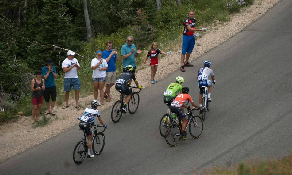 Leah Hogsten     The Salt Lake Tribune Leaders climb Guardsman's Pass during Stage 6 of the Tour of Utah on Saturday, August 6, 2016 that took cyclists on a 114-mile ride with over 11,000 feet of climbing from Snowbasin Ski Resort to Snowbird.