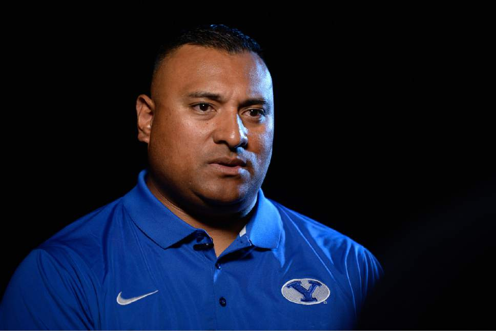 Francisco Kjolseth     The Salt Lake Tribune   BYU football head coach Kalani Sitake sits down for interviews during BYU Football Media Day at BYU Broadcasting in Provo on Friday, June 23, 2017.