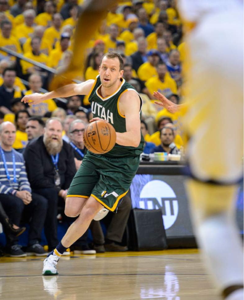 Steve Griffin  |  The Salt Lake Tribune   Utah Jazz forward Joe Ingles (2) drives to the basket during NBA playoff game between the Utah Jazz and the Golden State Warriors at Oracle Arena in Oakland Tuesday May 2, 2017.