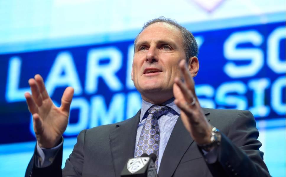 Pac-12 Commissioner Larry Scott speaks at Pac-12 NCAA college football Media Day, Wednesday, July 26, 2017, in the Hollywood section of Los Angeles. (AP Photo/Mark J. Terrill)