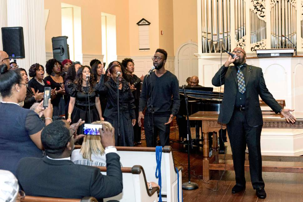 Courtesy of Intellectual Reserve Inc.  A local choir performed at the Princeton Theological Seminary in Princeton, New Jersey, July 26, 2017.