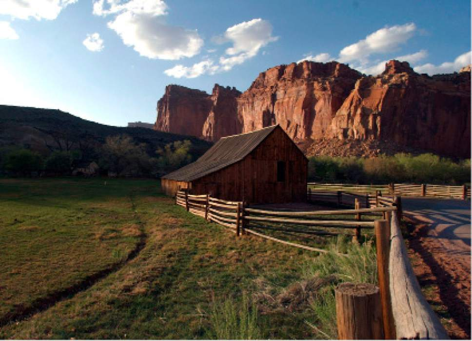 Tribune file photo Wayne County's main tourist attraction is Capitol Reef National Park, which is celebrating its 80th anniversary as part of the National Park Service. This barn inside the park, near the campground, harkens back to the area's agricultural past.
