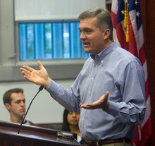 FILE PHOTO | The Salt Lake Tribune  Rep. Jim Matheson, D-Utah, faces Claudia Wright in his first primary election. Matheson is pictured here at the University of Utah earlier this year.