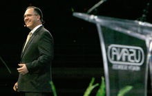 Steve Griffin  |  The Salt Lake Tribune   Usana Health Sciences is holding its annual convention this week at Energy Solutions Arena and the Salt Palace with about 6,000 people expected to attend. Here company CFO, Jeff Yates, talks at EnergySolutions  Arena during the convention's general session in Salt Lake City Thursday, August 26, 2010.