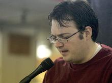 Jim Urquhart  |  The Salt Lake TribuneSci-fi author and BYU professor Brandon Sanderson reads from his book