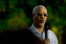Jeremy Harmon  |  The Salt Lake Tribune  Ted Fields Sr. speaks during a memorial and commemorative march at Liberty Park on Saturday. The event, held on the anniversary of Dr. Martin Luther King, Jr.'s