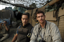 Author Sebastian Junger (left) and photojournalist Tim Hetherington spent more than a year with a forward unit in Afghanistan's Korangal Valley to film the documentary