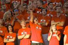 Photo by Chris Detrick     The Salt Lake Tribune Utah fans during the first half of the game at Rice-Eccles Stadium Thursday September 2, 2010.
