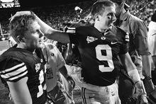 Trent Nelson  |  The Salt Lake Tribune BYU quarterbacks Riley Nelson (left) and Jake Heaps celebrate victory. BYU vs. Washington, college football at Lavell Edwards Stadium in Provo, Saturday, September 4, 2010.