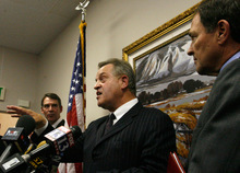 Rick Egan   |  The Salt Lake TribuneFred Lampropoulos, Merit Medical,  gets fired up as he steps in to answer a questions directed at Governor Gary Herbert, Monday, September 13, 2010.   The Gary Herbert for governor campaign responed to what it says are Peter Corroon's