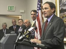 Rick Egan   |  The Salt Lake Tribune Governor Gary Herbert responds to questions at a press conference, Monday, September 13, 2010.   Gary Herbert for governor campaign responed to what it says are Peter Corroon's
