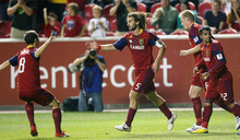 Steve Griffin  |  The Salt Lake Tribune   Real Salt Lake's Kyle Beckerman gets congratulated by his teammates after scoring on a header in first half action of the Real Salt Lake versus Toronto FC soccer game at Rio Tinto Stadium in Sandy Wednesday, September 15, 2010.
