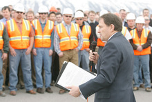 RICK EGAN  |  The Salt Lake Tribune Gov. Gary Herbert is pictured here kicking off the I -15 expansion  (I-15 Core) project last March. He speaks to more than 250 workers from Provo River Constructors, a consortium that won the $1.1 billion contract. Controversy has arisen over a $13 million payment to a losing bidder and allegations of favortism toward campaign contributors by gubernatorial candidate Peter Corroon.