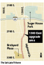 -- Street upgrade Salt Lake City officials plan a series of safety upgrades, including crosswalk signals, a lower speed limit and bike lanes, along 1300 East between Interstate 80 and 3300 South.