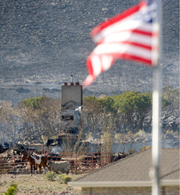 Al Hartmann  |  Salt Lake TribuneAn American flag waves a couple blocks north of a Herriman that burned from last night's fire.  All that's left is the chimney and remarkably some horses and a sheep.   A few green leaves of oakbrush survived but behind is scorched hillside.