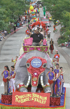 Rick Egan      The Salt Lake TribuneBig Budah rides an elephant in the Elephant Parade at The Gateway in Salt Lake City on Wednesday, Sept. 22, 2010.   It was Elephant Appreciation Day as the Ringling Bros. and Barnum & Bailey Circus rolled into town.