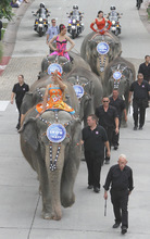 Rick Egan      The Salt Lake Tribune   Glinda Figueiredo,  Daniele Giamtaoli  and Clarissa Olidera, wave to the crowd as the  Elephant Parade winds down Rio Grande Street at The Gateway in Salt Lake City on Wednesday, Sept. 22, 2010.    It was Elephant Appreciation Day as the Ringling Bros. and Barnum & Bailey Circus rolled into town.