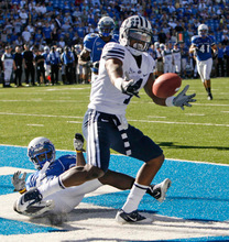Trent Nelson  |  The Salt Lake Tribune BYU's O'Neill Chambers can't pull in the end zone pass in the fourth quarter as BYU faces Air Force at the Air Force Academy, college football Saturday, September 11, 2010. Air Force wins 35-14.