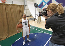 Utah Jazz's Deron Williams poses for a photo during the NBA basketball team's media day in Salt Lake City on Monday, Sept. 27, 2010. (AP Photo/George Frey)